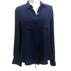 Ann Taylor Blue Silk Blouse Long Sleeve